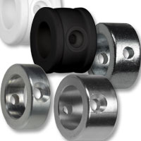 Kicker Stellringe aus Kunststoff und Metall.